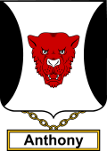 English Coat of Arms Shield Badge for Anthony