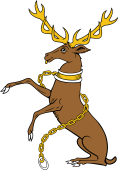Stag Sejant Erect Collared and Chained