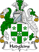 English Coat of Arms for Hodgkins or Hodgkinson