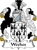 English Coat of Arms for Weekes or Wykes