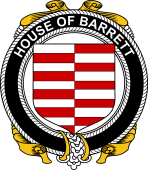 Irish Coat of Arms Badge for the BARRETT family