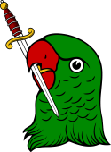 Parrot Head Erased Holding Sword