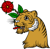 Tiger Head Holding Rose