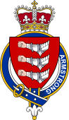 British Garter Coat of Arms for Armstrong (Ireland)