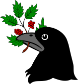 Raven Head Holding Holly Branch