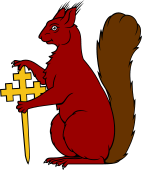 Squirrel Sejant Supporting Cross Crosslet Fitchee