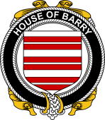 Irish Coat of Arms Badge for the BARRY family
