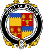 Irish Coat of Arms Badge for the BUTLER family